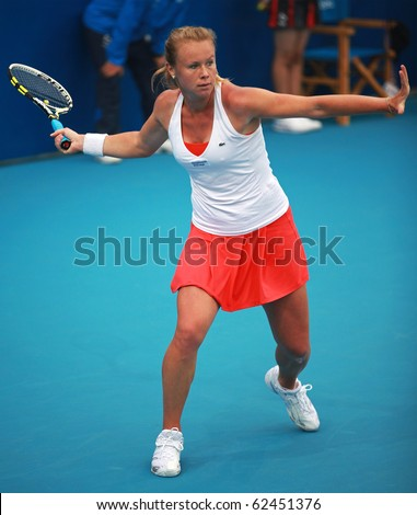 BEIJING-OCT 1: Vera Dushevina of Russia during her match against Sacha Jones of New Zealand at the 2010 China Open on October 1, 2010 in Beijing, China.