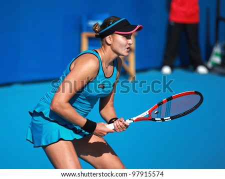 BEIJING-OCTOBER 04: Nadia Petrova of Russia during her match against Alona Bondarenko of Ukraine at the 2010 China Open on October 4, 2010 in Beijing, China.