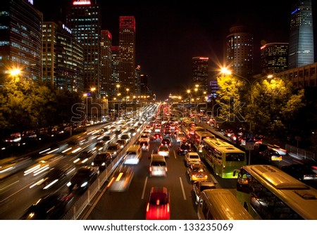 BEIJING-OCTOBER 25: Traffic jam on  Oct 25, 2010 in Beijing, China. The Beijing municipal government has the controlling traffic jams at the top of the to-do list to benefit people in 2013