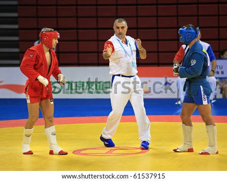 BEIJING-SEP 03: Sergej Grecicho of Lithuania(L) fights against Rumen Dimitrov of Bulgaria(R) during the Sambo competitions of the SportAccord Combat Games 2010 Beijing on Sep 03, 2010 in Beijing,China - stock photo