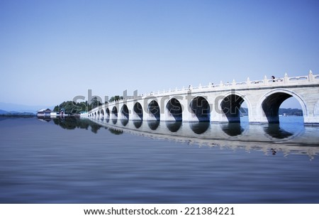 Beijing the 17-Arch Bridge in Summer Palace garden,beijing,china #221384221
