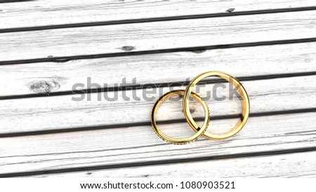Being forever, eternal bond feelings, staying together in a relationship, symbolized by two inseparable golden rings on a white wood table, clean, ascetic symbolism #1080903521