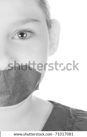 being silenced with tape over mouth