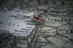 Beirut pinned on a map with the flag of Lebanon