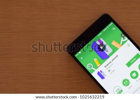 BEKASI, WEST JAVA, INDONESIA. FEBRUARY 16, 2018 : Science Journal dev application on Smartphone screen. Science Journal is a freeware web browser developed by Google LLC #1025632219