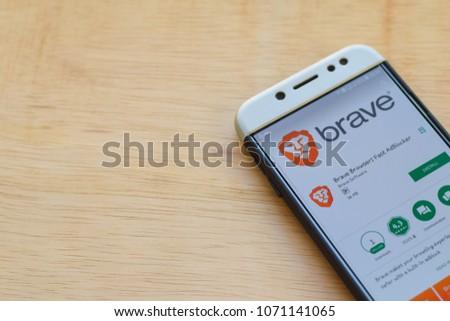 BEKASI, WEST JAVA, INDONESIA. MARCH 18, 2018 : Brave Browser: Fast AdBLocker dev application on Smartphone screen. Brave Browser is a freeware web browser developed by Brave Software #1071141065