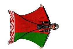 Belarus flag. Bird men. Men in wing suit templet. Skydiving men in parashute. Simulator of free fall.