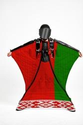 Belarus flag travel. Bird Men in wing suit flag. Sky diving men in parashute. Patriotism, men and flag.