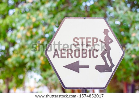 Belek, Antalya/Turkey - November 2019: pointer of step aerobics classes outdoor, the concept of a healthy lifestyle