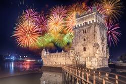 Belem tower (Lisboa/Lisbon, Portugal) with fireworks