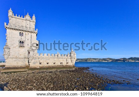 Belem Tower located in Tagus riverside in Lisbon, Portugal. Belem Tower is a Unesco World Heritage Site.
