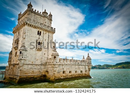 Belem tower on Tagus river, Belem, Lisbon, Portugal. UNESCO World Heritage Site.