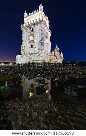 Belem Tower Portugal at Night