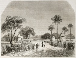 Belenia village old view, Sudan. Created by Lancelot after Werne, published on Le Tour du Monde, Paris, 1860.