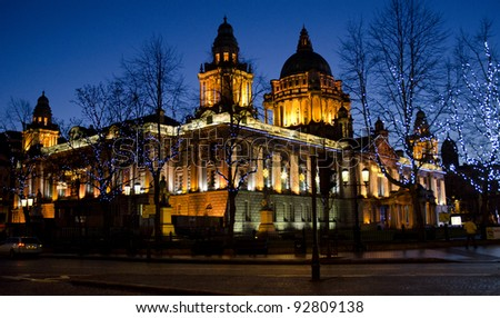 BELFAST, NORTHERN IRELAND - JANUARY 1: City Hall on January 1, 2012 in Belfast, Northern Ireland. The City Hall was completed in 1906 at a cost of £360,000.