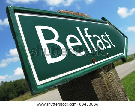 BELFAST road sign