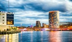 Belfast Skyline at Night over the River Lagan, Belfast City, Northern Ireland, United Kingdom (UK).