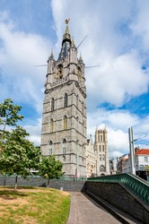 Belfort tower and Saint Bavo Cathedral, Ghent, Belgium