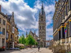 Belfry of Ghent and Ghent Town Hall (Stadhuis) in Ghent (Gent), Belgium. Architecture and landmark of Ghent.