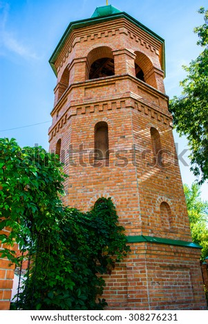 Belfry of the Alexander Nevsky Cathedral church Barnaul, Russia