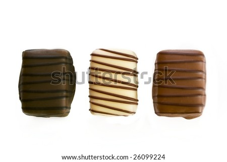 Belgian chocolates on a white background