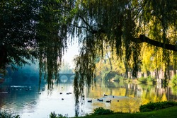 Belgium Bruges Minnewater park and walks in Bruges, Belgium