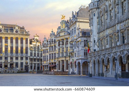 Belgium. Brussels. The Grand Place. The Grand place is the Central square of medieval Brussels. The Grand place is one of the world's most beautiful squares, called the majestic heart of the old town.