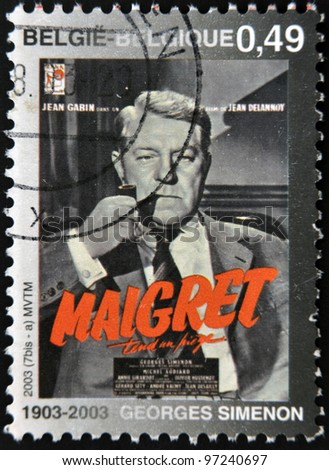 BELGIUM - CIRCA 2003: A stamp printed in Belgium shows Jules Maigret, Inspector fictional French police created by Georges Simenon, circa 2003