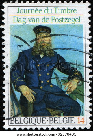"BELGIUM  - CIRCA 1990: A Stamp printed in Belgium shows the ""Postman Roulin"", by Van Gogh, circa 1990"