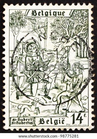 BELGIUM - CIRCA 1977: a stamp printed in the Belgium shows Conversion of St. Hubertus, 1250th Anniversary of the Death of St. Hubertus, circa 1977