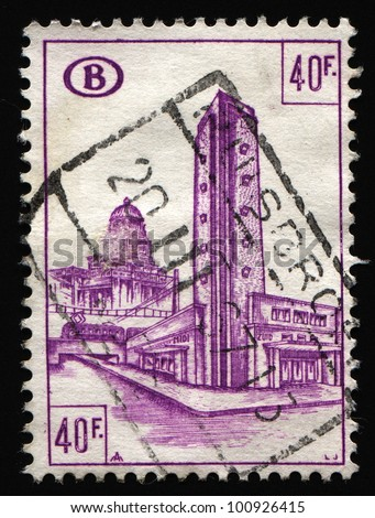 BELGIUM - CIRCA 1960s: A stamp printed in Belgium shows landmark building in the capital city, circa 1960s.