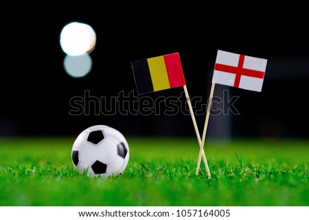 Belgium - England national Flag, football match, world cup Russia. Concept photo, edit space. #1057164005