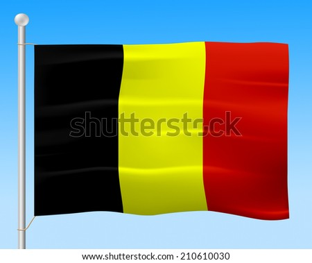 Belgium Flag Indicating National European And Patriotism