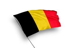 Belgium flag isolated on white background with clipping path. close up waving flag of Belgium. flag symbols of Belgium.