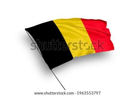 Belgium flag isolated on white background with clipping path. close up waving flag of Belgium. flag symbols of Belgium. Сток-фото ©