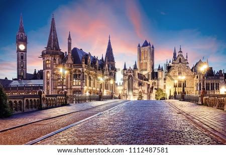 Belgium historic city Ghent at sunset #1112487581