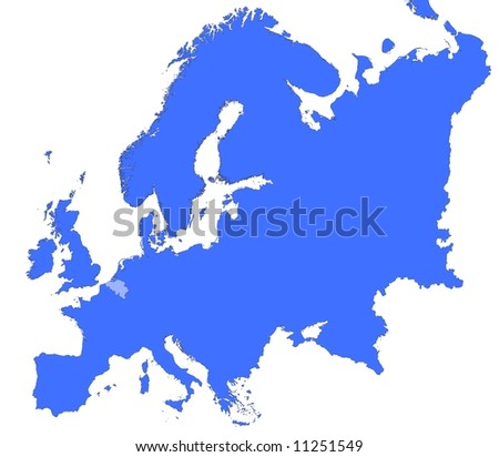 Belgium location in Europe map. Mercator Projection.