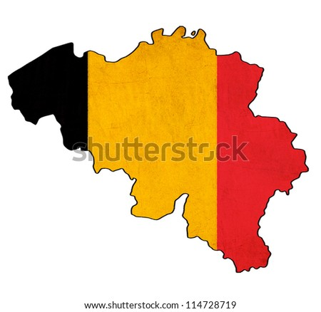 Belgium map on Belgium flag drawing ,grunge and retro flag series
