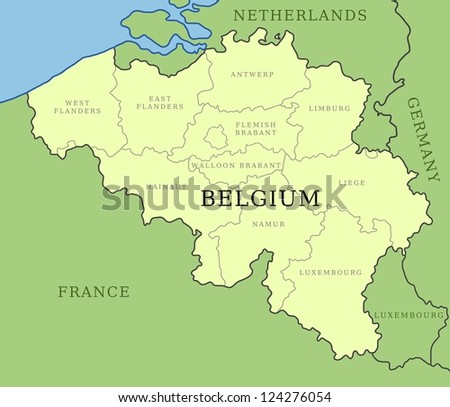Belgium map with administrative division into provinces.