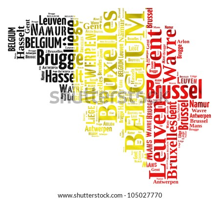 BELGIUM map words cloud of major cities with a white background