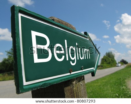 BELGIUM signpost along a rural road