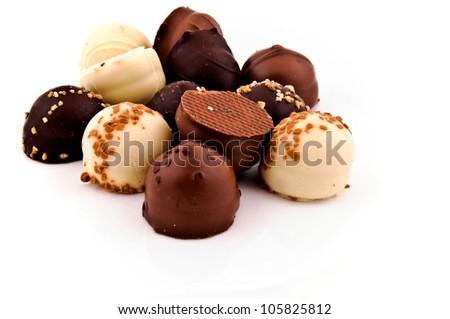 Belgium the finest sweet pralines isolated