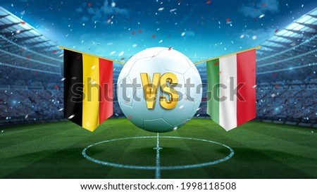 Belgium vs Italy. Soccer concept. White soccer ball with the flag in the stadium, 2021. 3d render Сток-фото ©