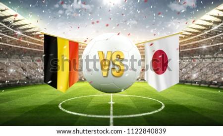 Belgium vs Japan. Soccer concept. White soccer ball with the flag in the stadium, 2018. 3d render