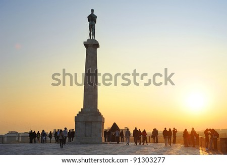 BELGRAD, SERBIA - OCTOBER 28:  Statue of Victory  on October 28, 2011 in  Belgrade , erected on 1928 to commemorate the Kingdom of Serbia's war victories over Ottoman Empire.