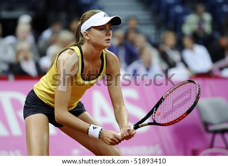 BELGRADE - APRIL 25: Daniela Hantuchova waits the ball from Jelena Jankovic during Fed Cup World Group Play-off  in Belgrade Arena April 25, 2010 in Belgrade, Serbia.