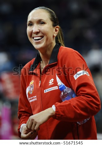 BELGRADE - APRIL 24: Jelena Jankovic after the match during Fed Cup World Group Play-off  in Belgrade Arena April 24, 2010 in Belgrade, Serbia.