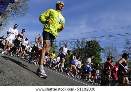 "BELGRADE - APRIL 18: Man runs during ""23. Belgrade Time Force marathon""  April 18, 2010 in Belgrade, Serbia."