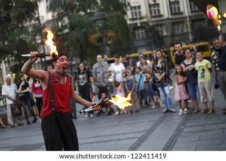 BELGRADE - AUG 26: Clown Barabba from Italia performs during Buskerfest, Street performers festival on August 26, 2011 in Belgrade, Serbia.
