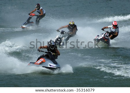 BELGRADE - AUGUST 15: IJSBA WORLD ENDURANCE CHAMPIONSHIP Jet Ski competitors on race August 15, 2009 in Belgrade, Serbia.